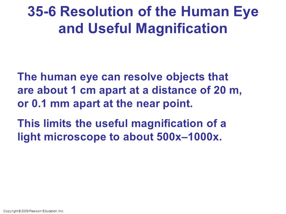 35-6 Resolution of the Human Eye and Useful Magnification