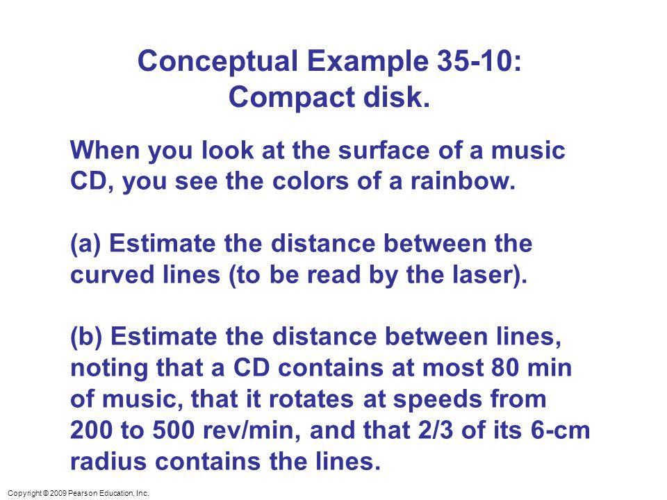 Conceptual Example 35-10: Compact disk.