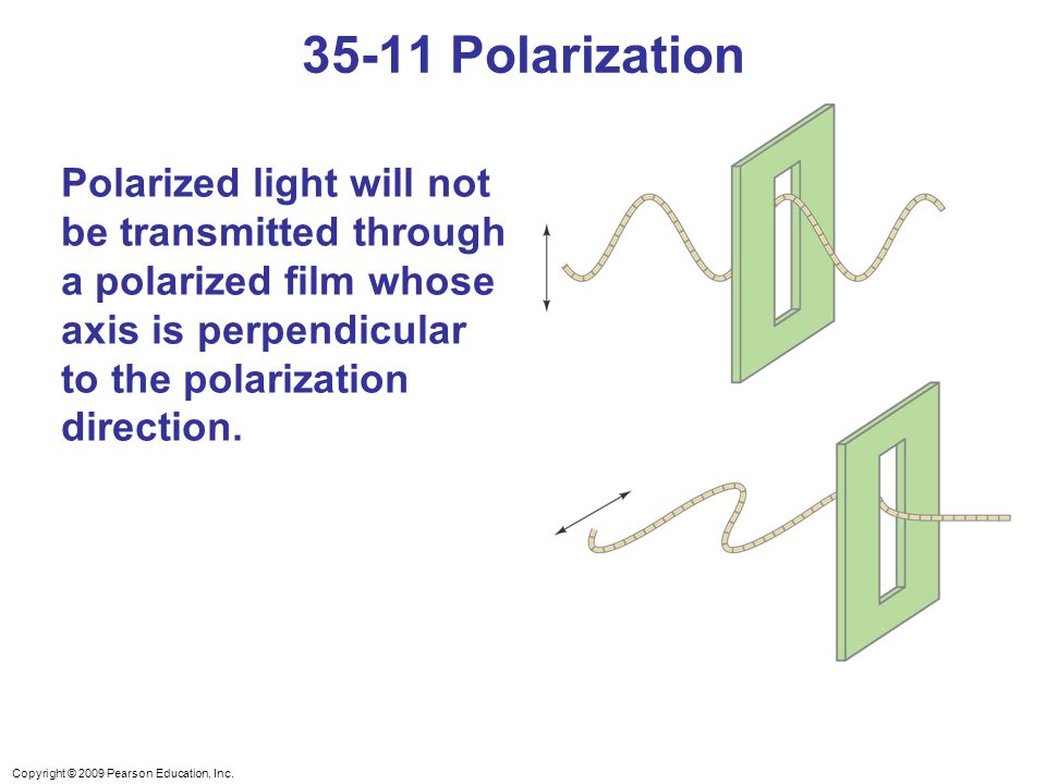 35-11 Polarization Polarized light will not be transmitted through a polarized film whose axis is perpendicular to the polarization direction.