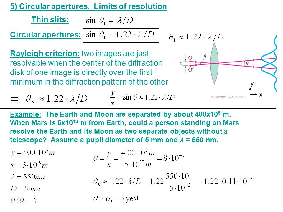 5) Circular apertures. Limits of resolution