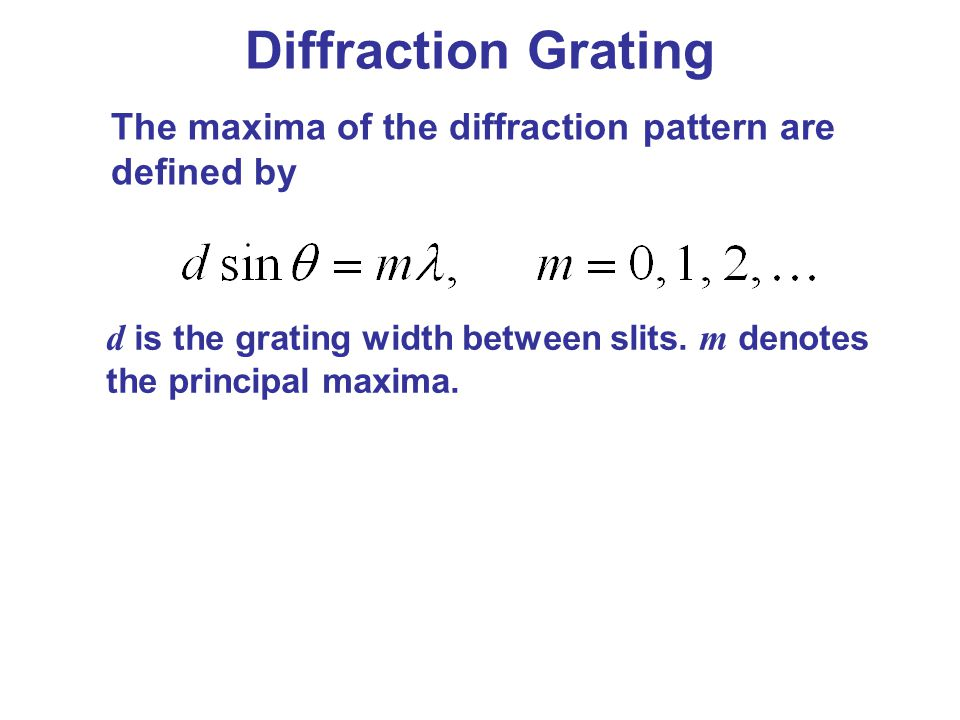 Diffraction Grating The maxima of the diffraction pattern are defined by.