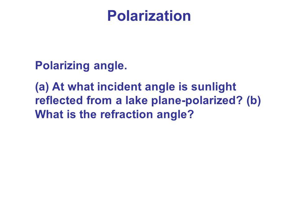 Polarization Polarizing angle.