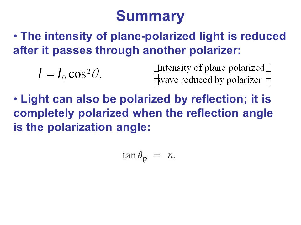 Summary The intensity of plane-polarized light is reduced after it passes through another polarizer: