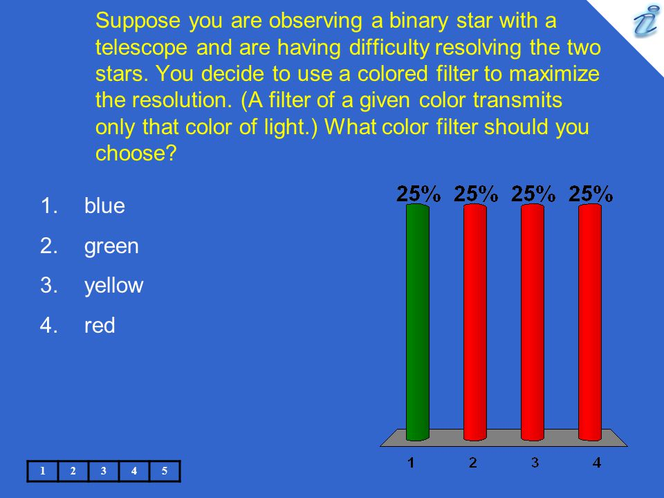 Suppose you are observing a binary star with a telescope and are having difficulty resolving the two stars. You decide to use a colored filter to maximize the resolution. (A filter of a given color transmits only that color of light.) What color filter should you choose