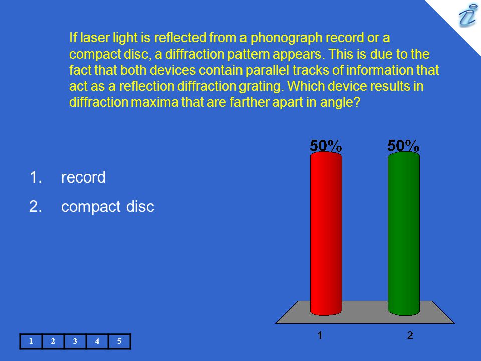 If laser light is reflected from a phonograph record or a compact disc, a diffraction pattern appears. This is due to the fact that both devices contain parallel tracks of information that act as a reflection diffraction grating. Which device results in diffraction maxima that are farther apart in angle