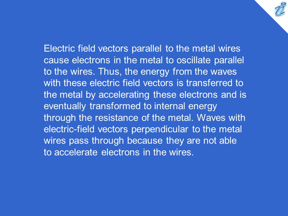 Electric field vectors parallel to the metal wires cause electrons in the metal to oscillate parallel to the wires.
