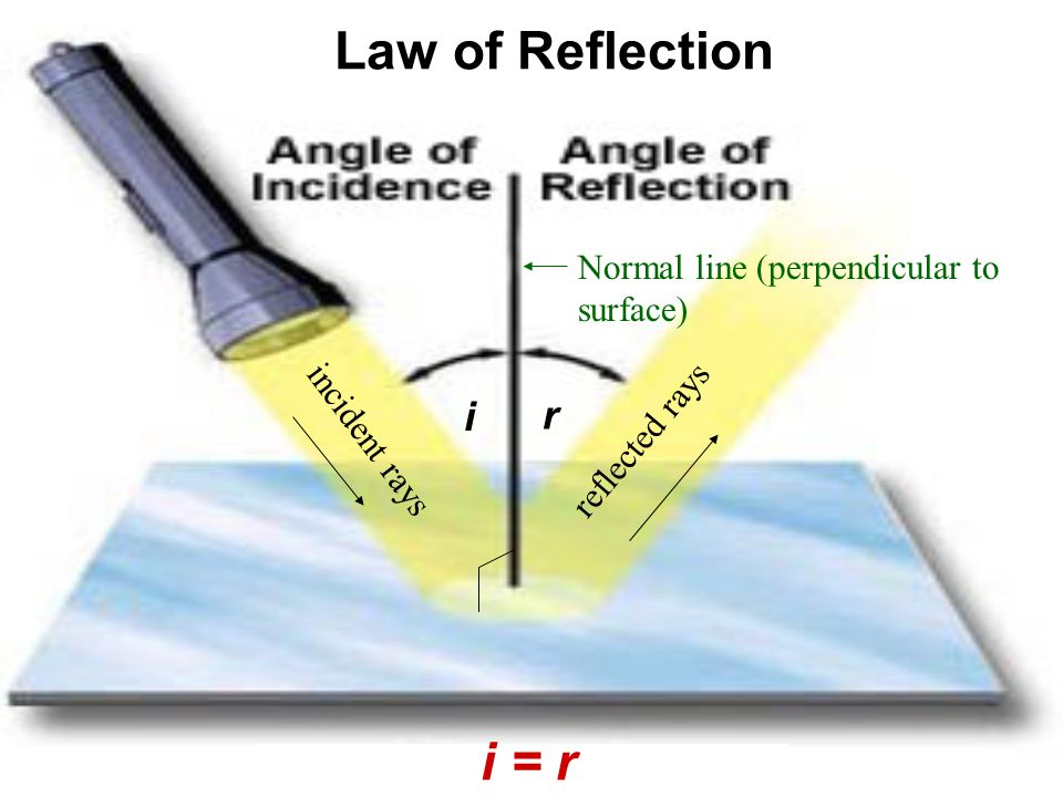 Law of Reflection i = r i r Normal line (perpendicular to surface)