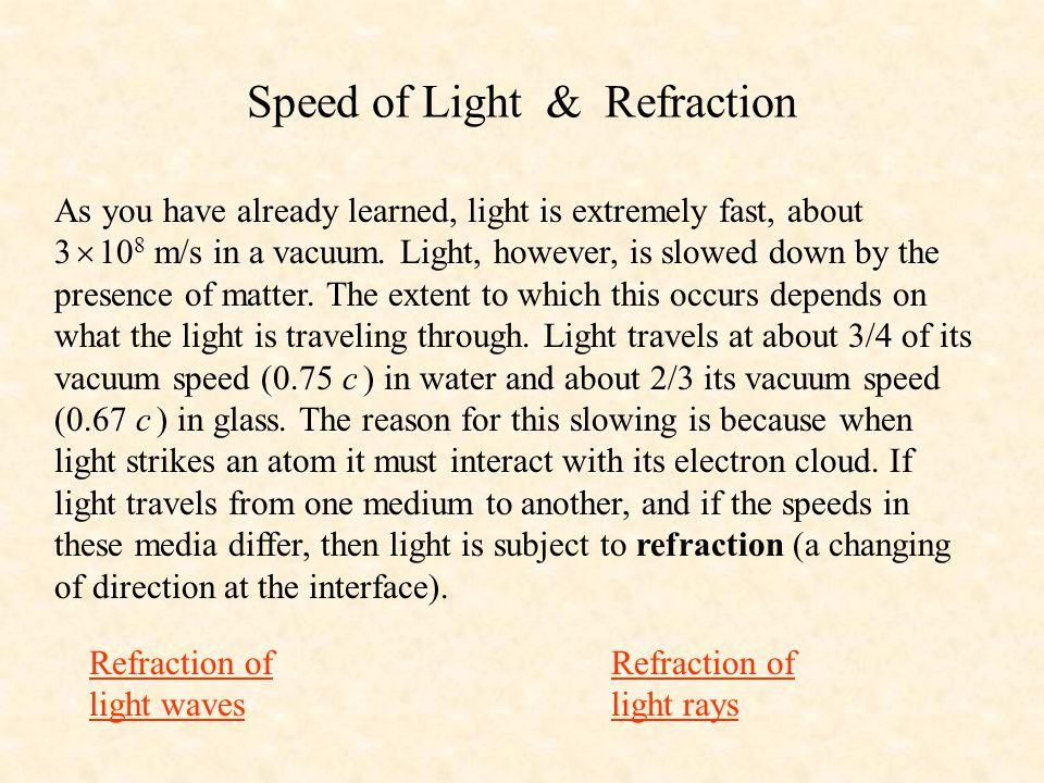 Speed of Light & Refraction
