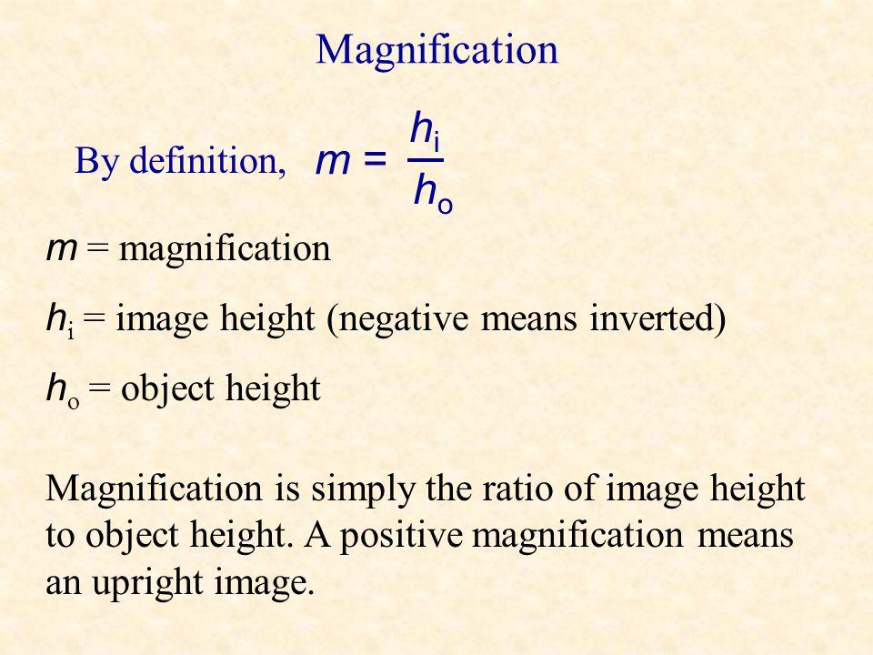 Magnification hi m = ho By definition, m = magnification