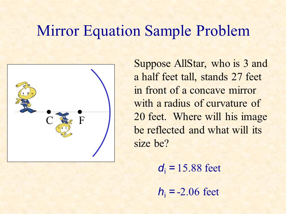 Mirror Equation Sample Problem