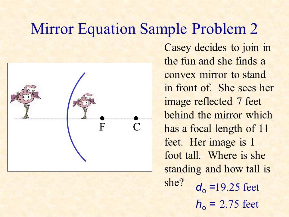 Mirror Equation Sample Problem 2