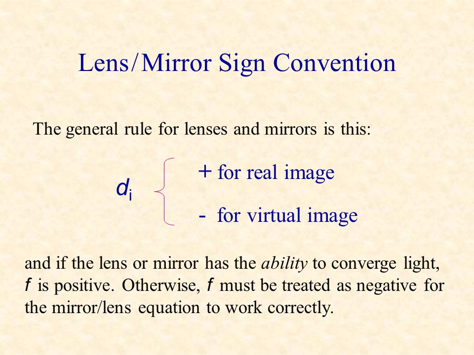 Lens / Mirror Sign Convention