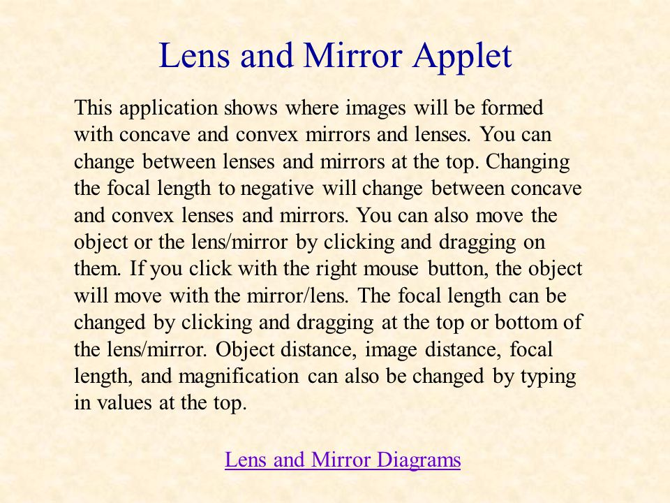 Lens and Mirror Applet