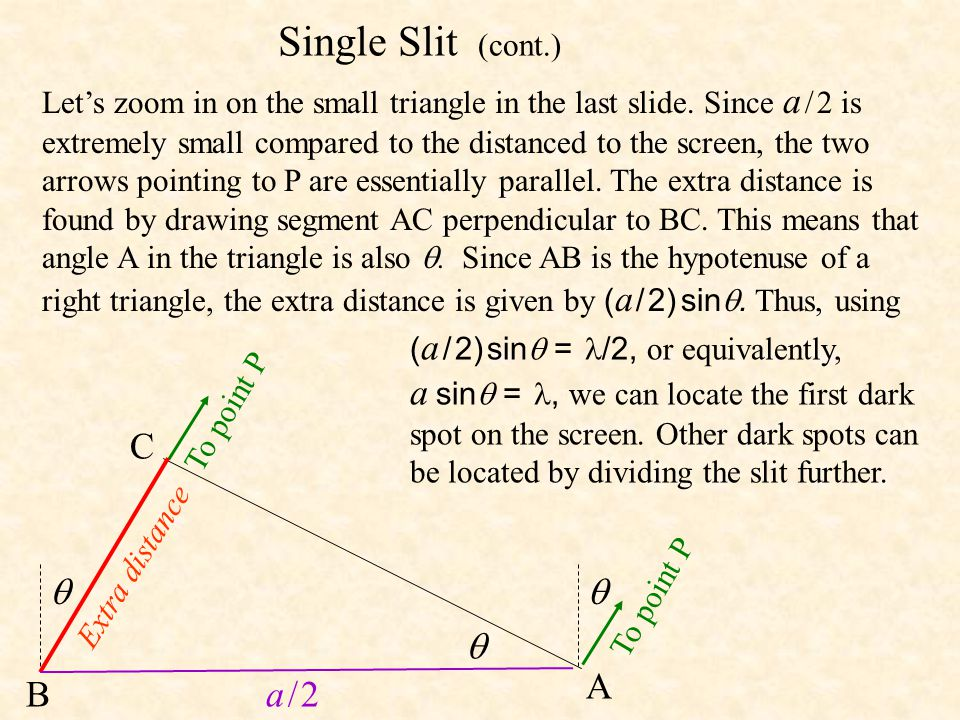 Single Slit (cont.) C    A B a / 2