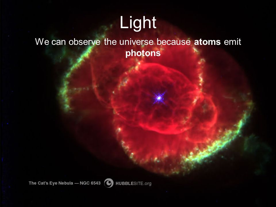 We can observe the universe because atoms emit photons