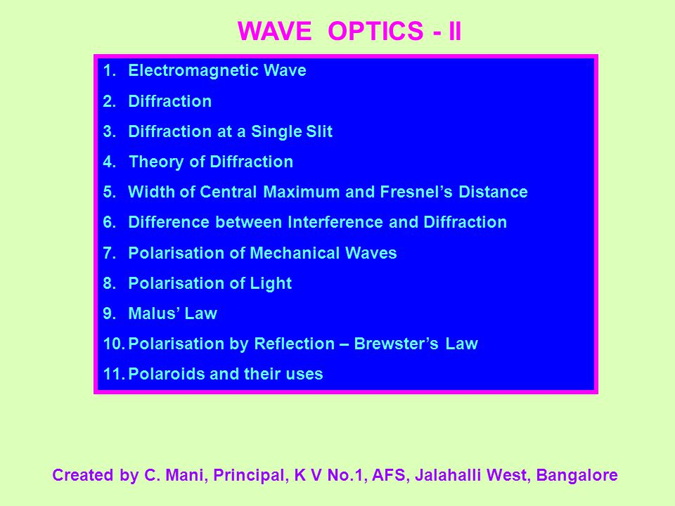 WAVE OPTICS - II Electromagnetic Wave Diffraction