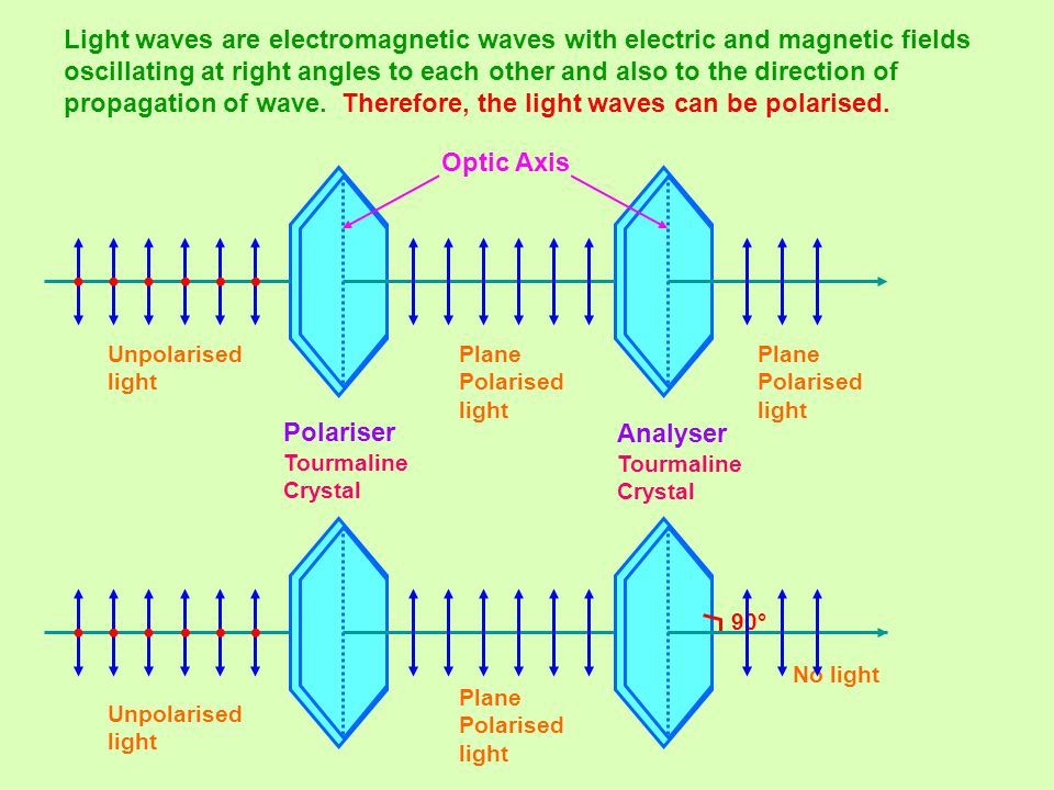 Light waves are electromagnetic waves with electric and magnetic fields oscillating at right angles to each other and also to the direction of propagation of wave. Therefore, the light waves can be polarised.