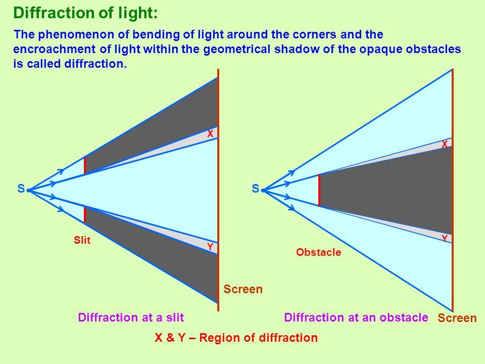 Diffraction of light: • •