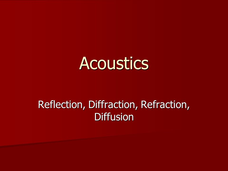 Reflection, Diffraction, Refraction, Diffusion