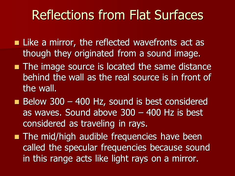 Reflections from Flat Surfaces