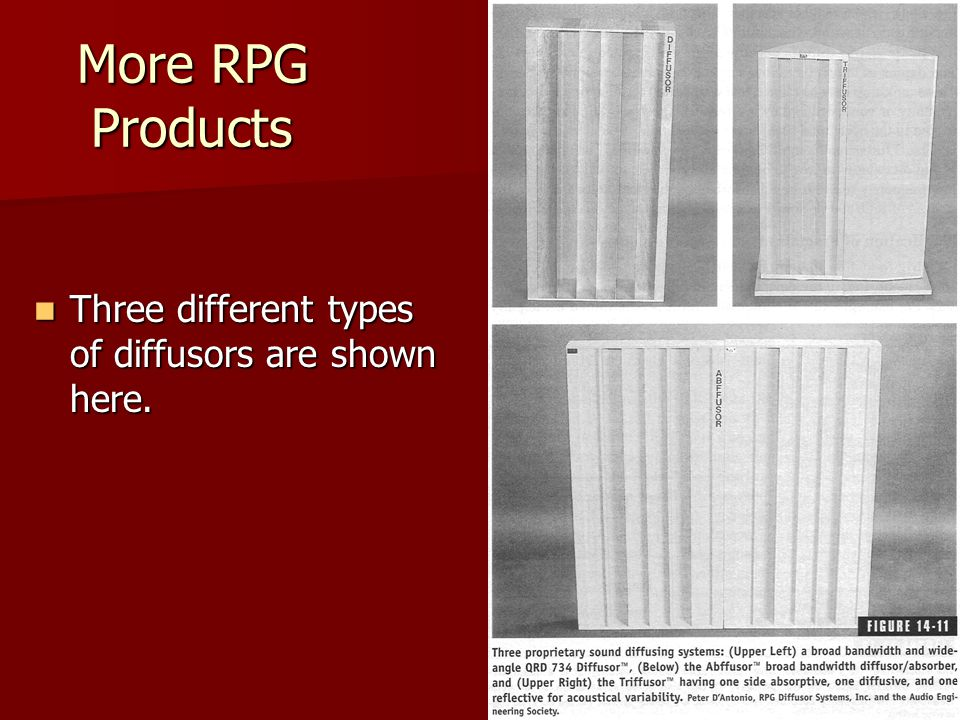 More RPG Products Three different types of diffusors are shown here.