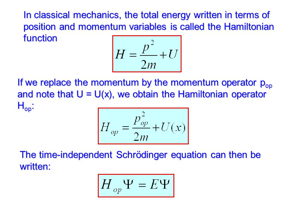 The time-independent Schrödinger equation can then be written: