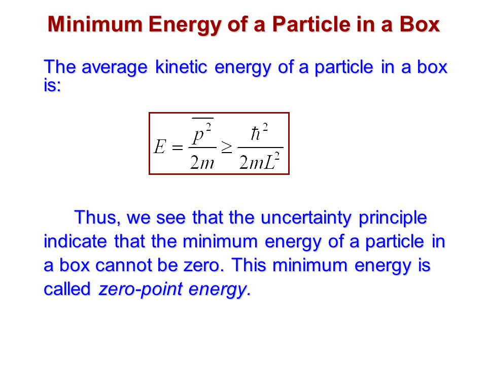Minimum Energy of a Particle in a Box