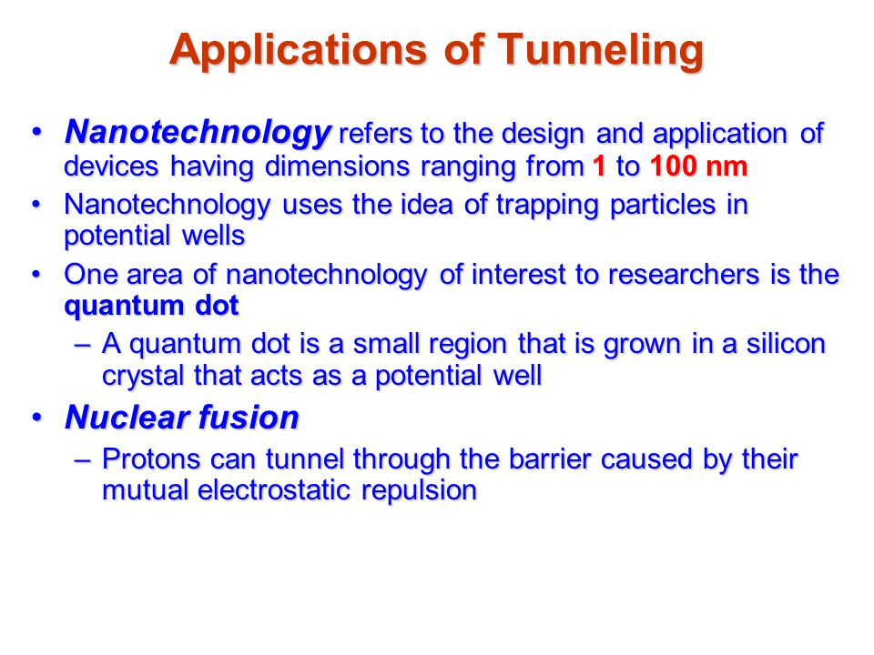 Applications of Tunneling