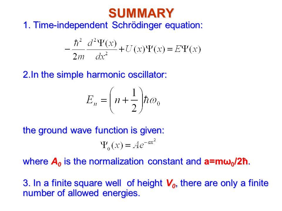 SUMMARY 1. Time-independent Schrödinger equation: