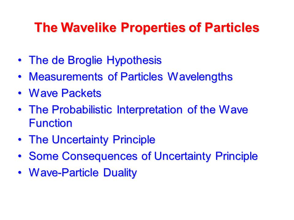 The Wavelike Properties of Particles