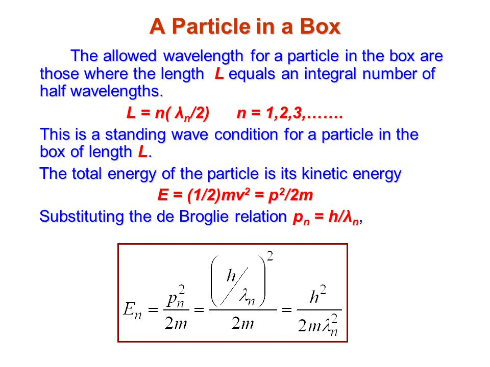 A Particle in a Box The allowed wavelength for a particle in the box are those where the length L equals an integral number of half wavelengths.