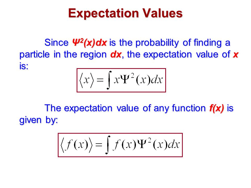 Expectation Values Since Ψ2(x)dx is the probability of finding a particle in the region dx, the expectation value of x is: