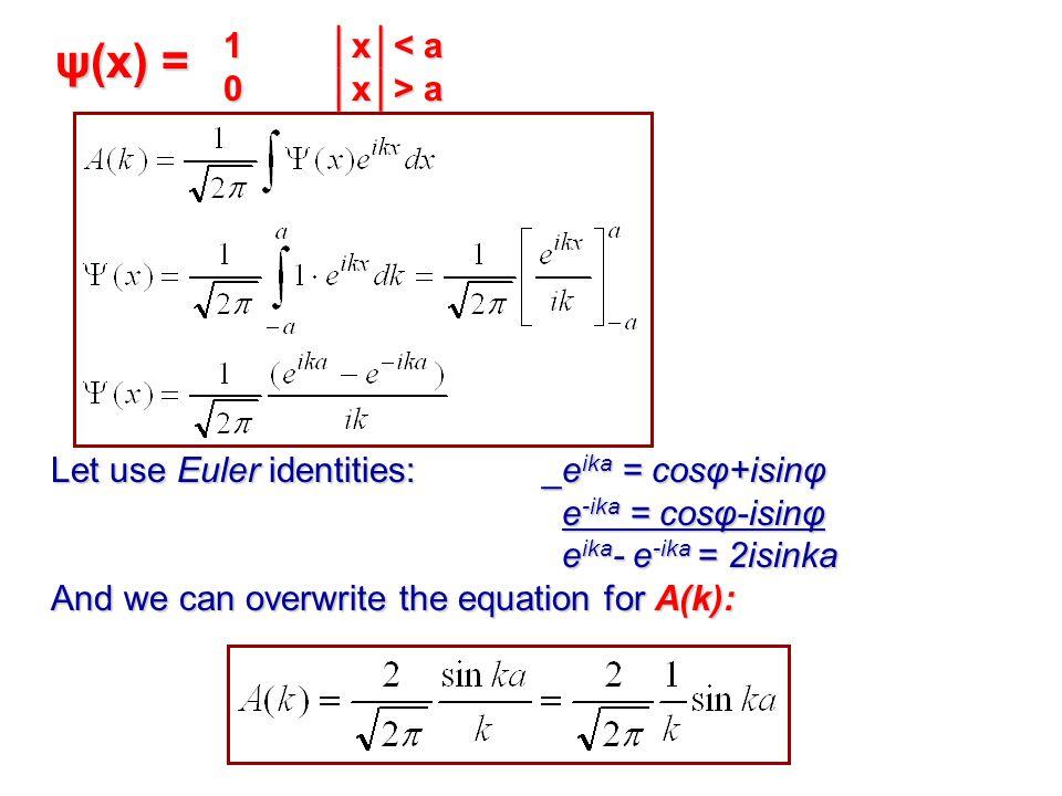 ψ(x) = 0 │x│> a Let use Euler identities: _eika = cosφ+isinφ
