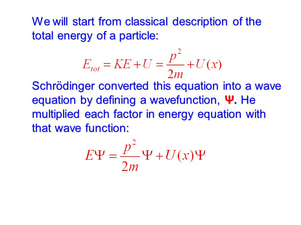 We will start from classical description of the total energy of a particle: