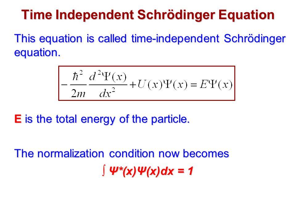 Time Independent Schrödinger Equation