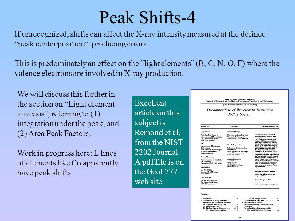 Peak Shifts-4 If unrecognized, shifts can affect the X-ray intensity measured at the defined peak center position , producing errors.