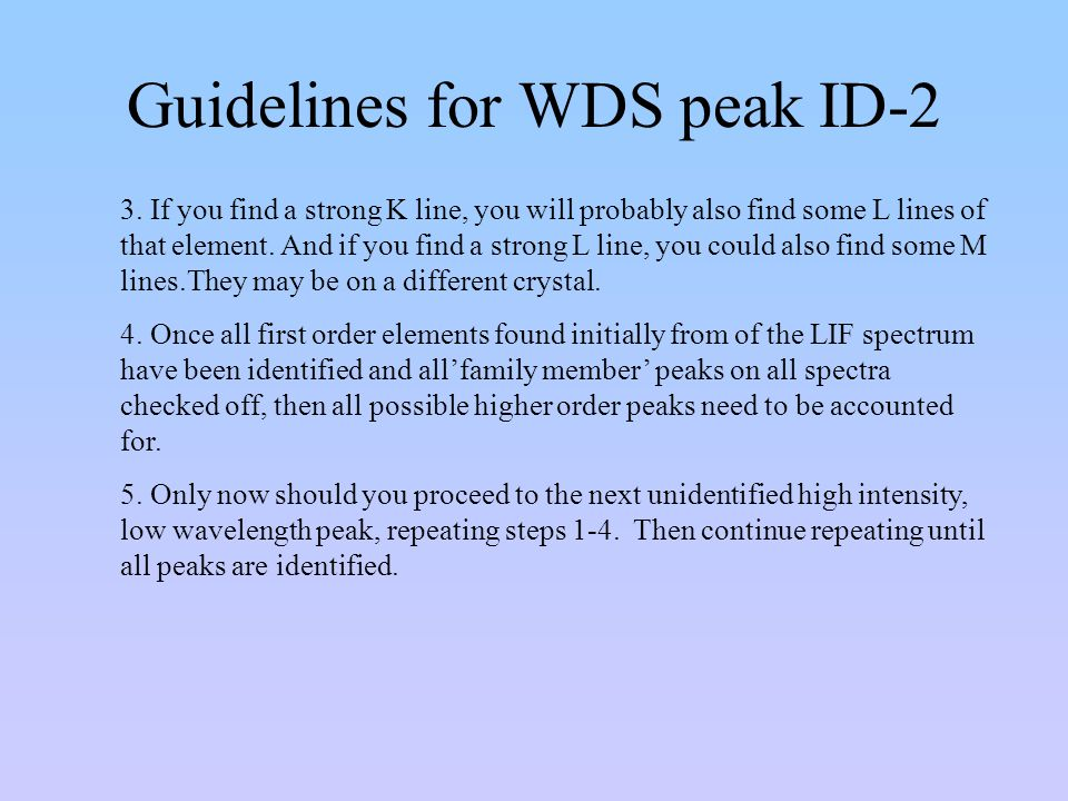 Guidelines for WDS peak ID-2