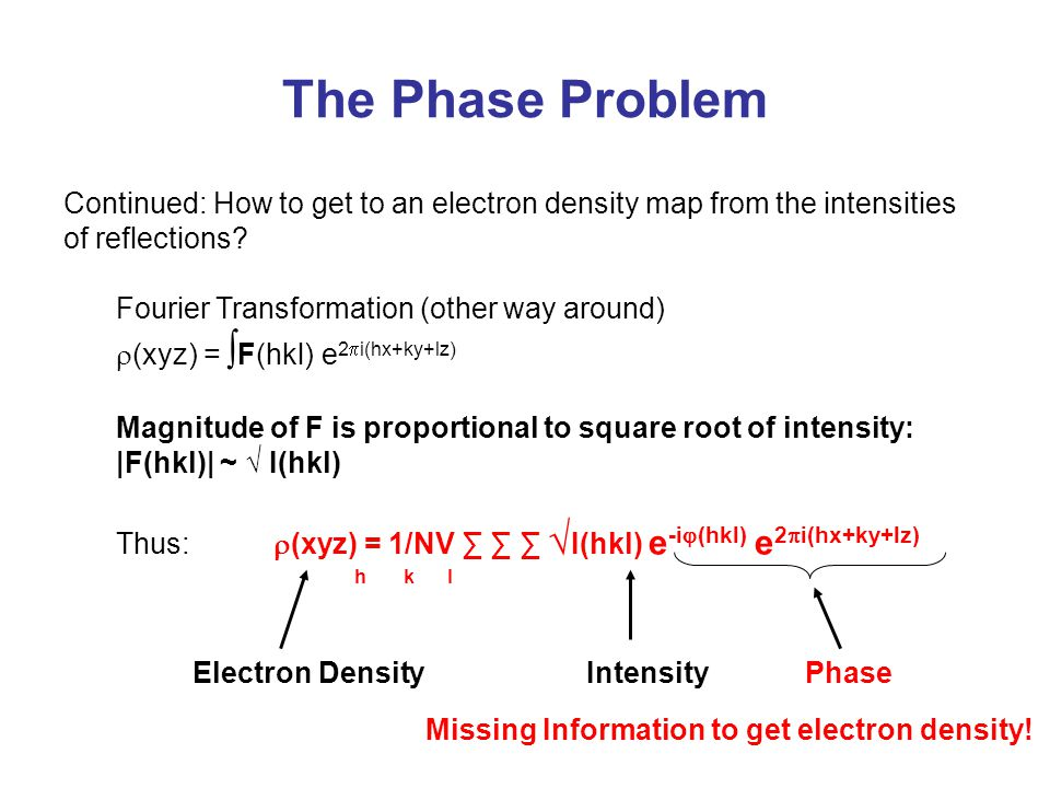 The Phase Problem Continued: How to get to an electron density map from the intensities of reflections