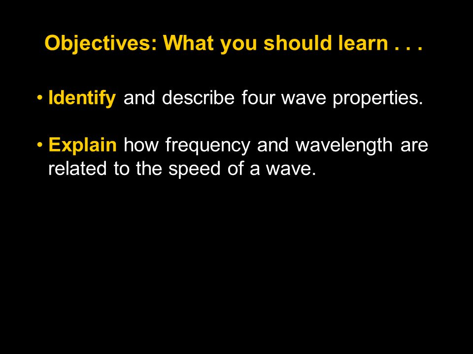 Objectives: What you should learn . . .