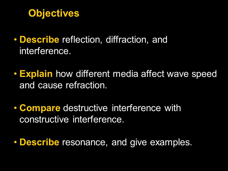 Objectives Describe reflection, diffraction, and interference.