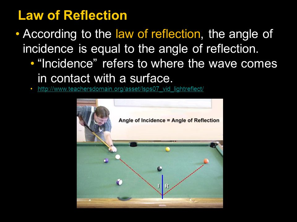 Law of Reflection According to the law of reflection, the angle of incidence is equal to the angle of reflection.