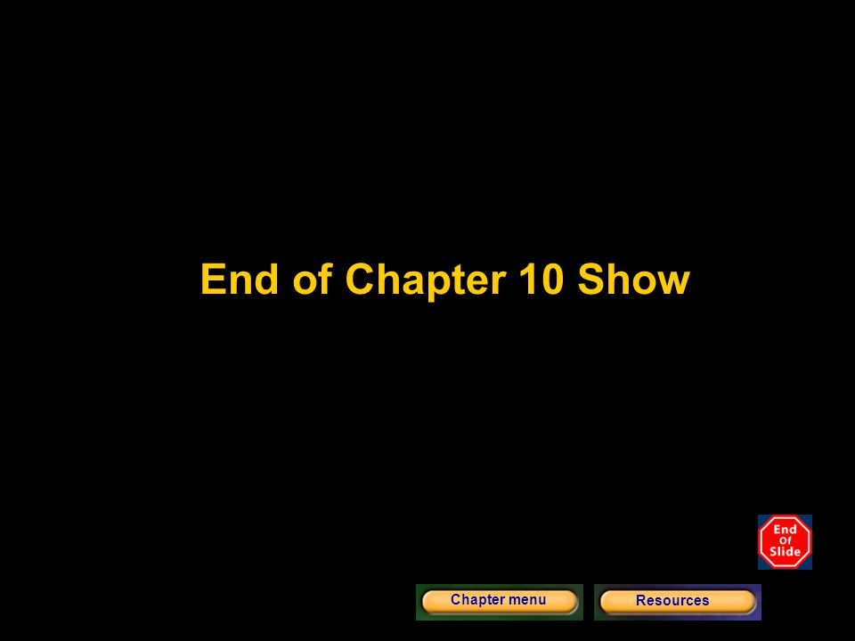 End of Chapter 10 Show Chapter menu Resources