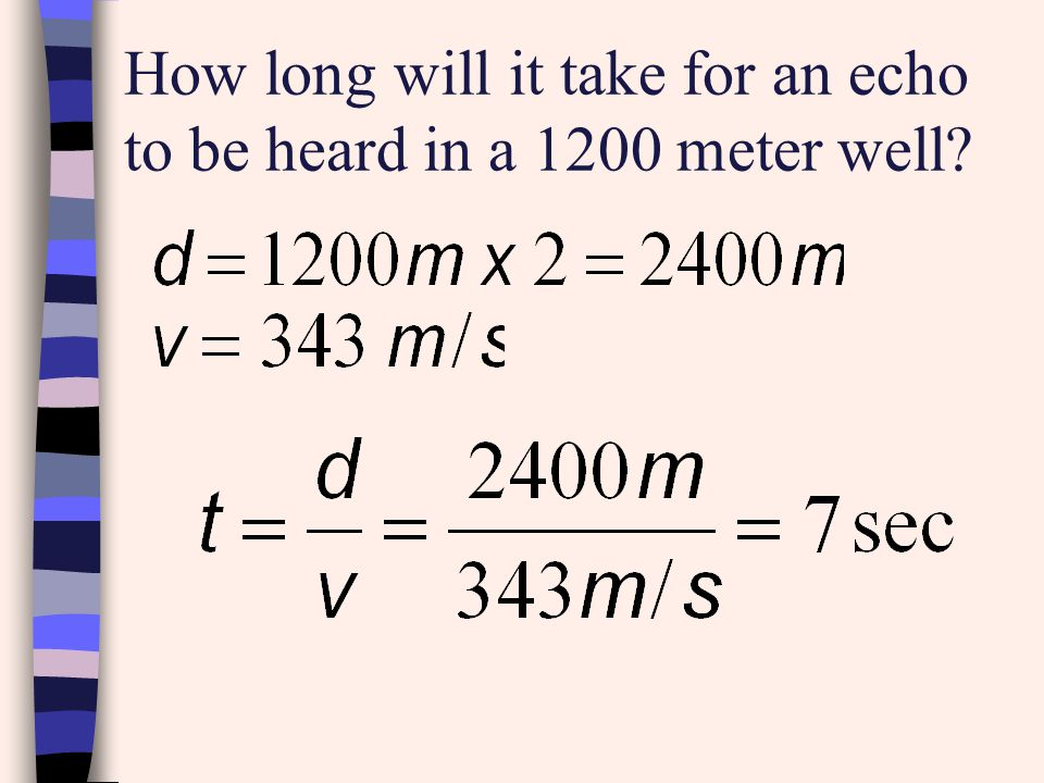 How long will it take for an echo to be heard in a 1200 meter well