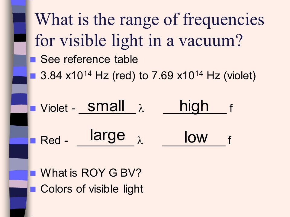 What is the range of frequencies for visible light in a vacuum