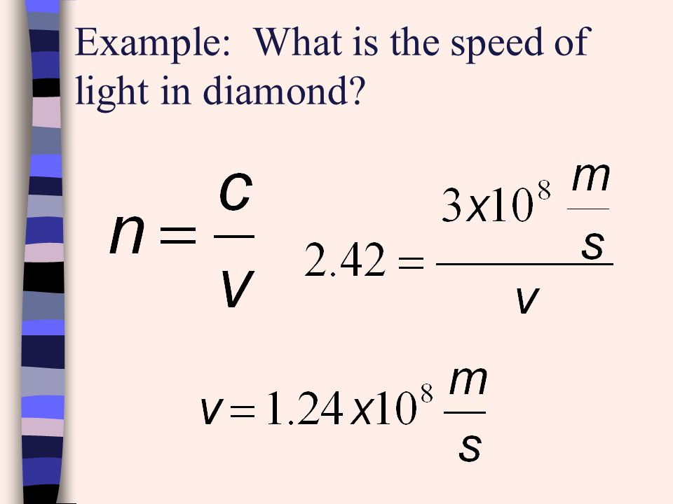 Example: What is the speed of light in diamond