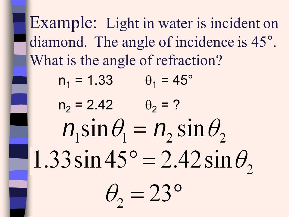 Example: Light in water is incident on diamond