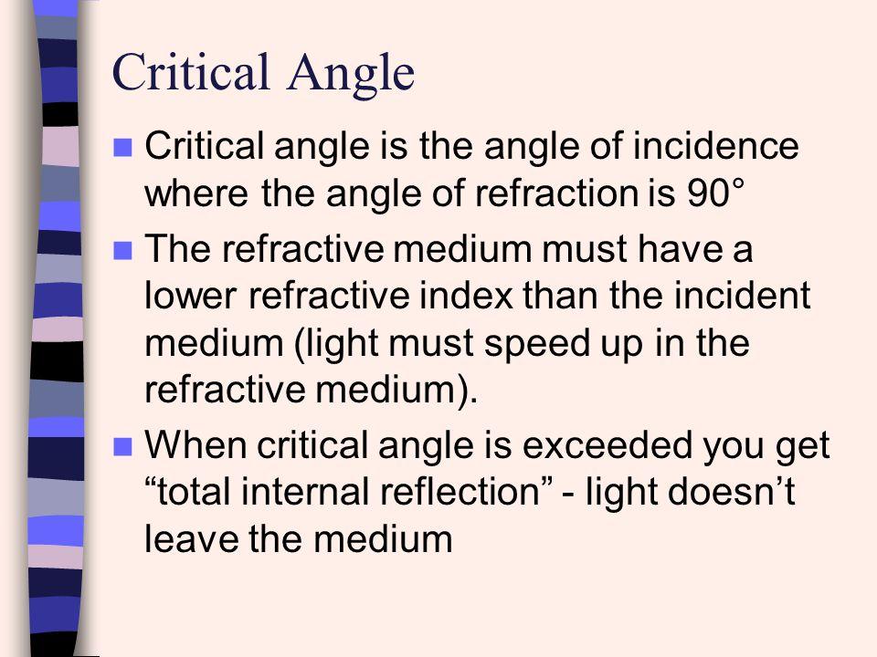 Critical Angle Critical angle is the angle of incidence where the angle of refraction is 90°