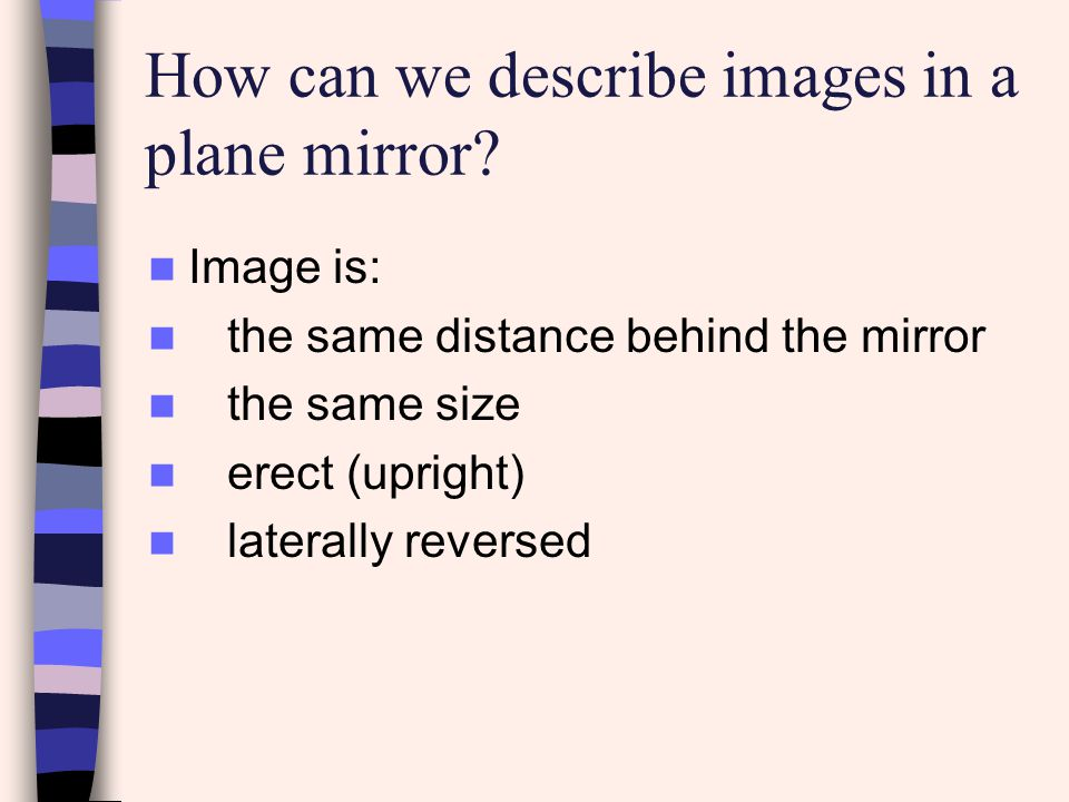 How can we describe images in a plane mirror