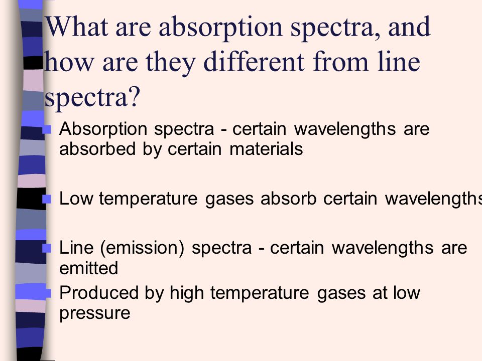 What are absorption spectra, and how are they different from line spectra