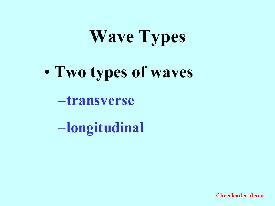 Wave Types Two types of waves transverse longitudinal Cheerleader demo